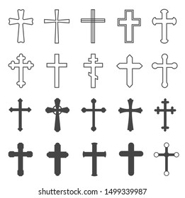 Christian crosses. Decorative crucifix religion catholic symbol, orthodox faith church cross design, isolated flat vector set