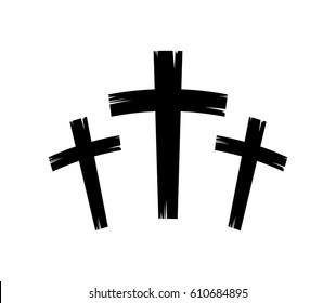 christian crosses icon over white background. vector illustration