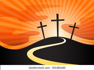 Christian crucifix silhouette of calvary cross symbol on hill and sky sunrays background. Vector illustration.