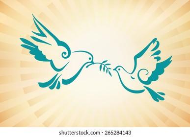 Christian dove, symbols of peace. Sun rays. Vector template for design