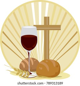 Christian Easter containing a glass of wine, bread, cross and wheat