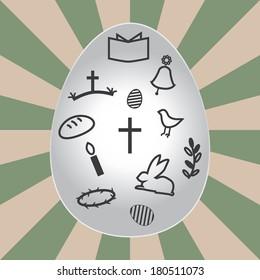 Christian Easter egg, vector Easter card