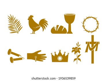 Christian Easter icon symbols. palm branch, cross of Jesus Christ, rooster, crown of thorns, bowl and bread, crucified palms. vector illustration isolated on white background
