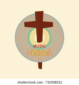 Christian emblem with the image of the music CD and the cross. Symbolizes a Christian music Studio.
