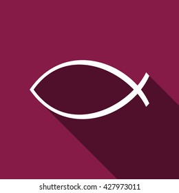 Christian fish flat icon with long shadow. Vector Illustration