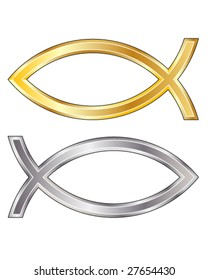 Christian fish icon in silver and gold vector texture - looks like the fish people stick on their cars