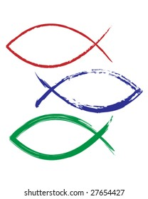 Christian fish icon in vector illustration that looks like magic marker or paint - red, blue, and green