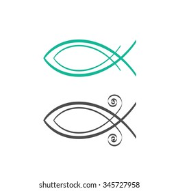 Christian fish symbol, abstract logo concept, fresh sea food logotype, Jesus fish icon isolated on white background vector illustration, modern creative linear design sign badge, outline flat style.