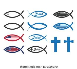 Christian fish symbol icon vector illustration