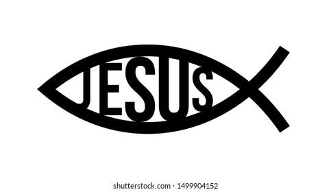 Christian fish symbol. Jesus fish icon religious sign. God Christ logo illustration.