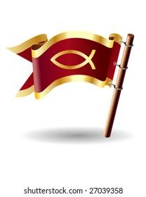 Christian fish symbol on red royal flag icon