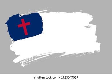 Christian flag. Symbol of Christianity banner brush style. Religious flag horizontal vector Illustration isolated on gray background.