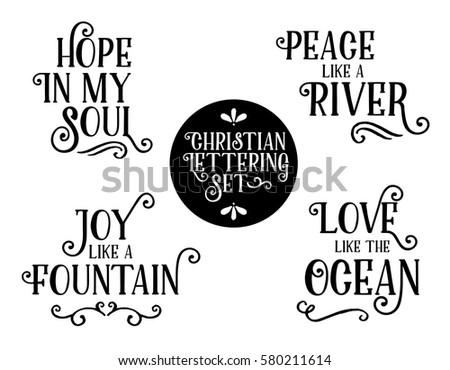 Christian Gospel Lyrics Phrases Collection Hope Stock Vector