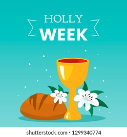 Christian greeting card or Holy Week banner before Easter. communion symbols bread and wine cup and lily flowers. holy week flat vector illustration isolated on blue background