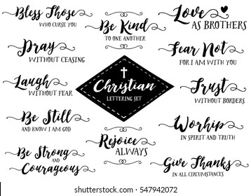 Christian Hand Lettering Vector Set, Discipleship & Biblical Phrases, Pray without Ceasing, Trust without Borders, Give Thanks in all Circumstances, Love as Brothers & more, 12 designs in collection