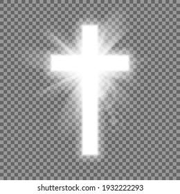 Christian heaven. Holy light glow effect. Vector shine symbol of christianity illustration. Vector illustration. Eps 10.