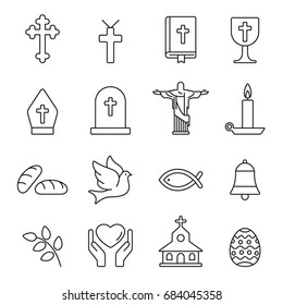 Christian  icons: thin monochrome icon set, black and white kit