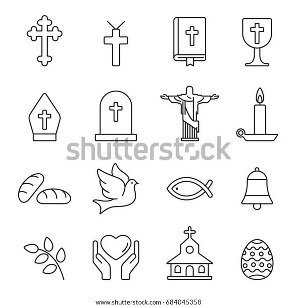 Christian  icons: thin monochrome icon set, black and white kit
