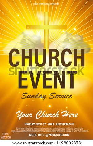 Religious Flyer Card For Church Service Event Vector Concept Illustration With Cross And Clouds On Abstract Colorful Background