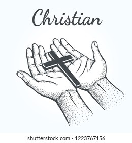 Christian - Сross lies on the hands of the worshiper.