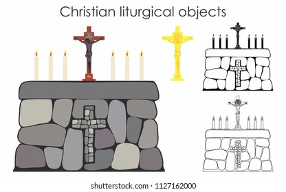 Christian liturgical objects and stone table. Black fill. Outline only.