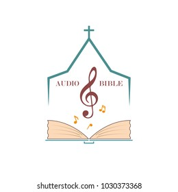 Christian logo for audio studios, preaching the word of God. Vector emblem of the treble clef and the Bible under the roof of the church.