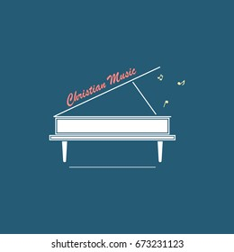 Christian logo with a picture of a white grand piano and an inscription symbolizing Christian music.