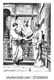 Christian marriage in the first centuries of the church, vintage engraved illustration.