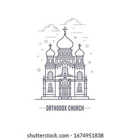 Christian Orthodox church logo. Simple line art style outline vector icon isolated on white background