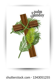 A Christian Palm Sunday religious holiday with palm branches and leaves and cross illustration. Vector EPS 10 available. - Vector