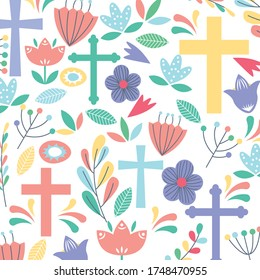 christian pattern background with cross and flowers. vector illustration