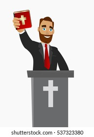 A Christian priest gave a sermon in a church in worship. Vector illustration on white background isolated.