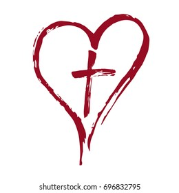 Christian red cross and heart drawn by brush. Vector Illustration.