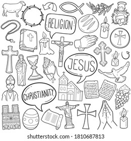 Christian Religion doodle icon set. Christianity Vector illustration collection. Cross and symbols Hand drawn Line art style.
