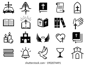 Christian religion icons set, Catholic symbol illustration, contain such icon as bible, church, candle, bell, pray and more. editable file. vector