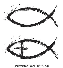 Christian religion symbol fish created in grunge style