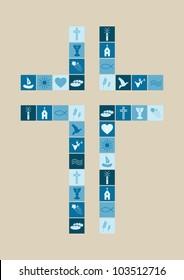 Christian religion symbols boy