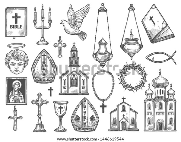 Christian religion symbols and church supplies sketches. Vector catholic temples, bible and God icon, Jesus Christ crucifix and cross, orthodox monastery, angel with halo and candle, dove, thorn crown