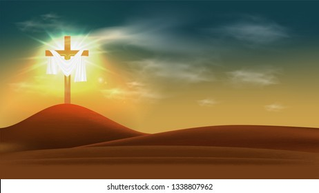 Christian religious design for Easter celebration. Resurrection of Jesus Christ. The dawn of the new morning and the cross is empty. Vector illustration
