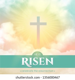 Christian religious design for Easter celebration. Rectangular vertical vector banner with text: He is risen, shining Cross and heaven with white clouds.