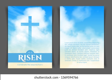 Christian religious design for Easter celebration. Two-sided vertical flyer. Text: He is risen, shining Cross and heaven with white clouds.