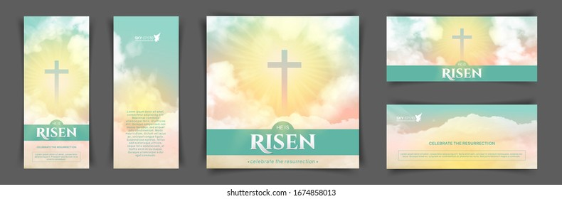 Christian religious design for Easter celebration. A set of vector banners. Text: He is risen, shining Cross and heaven with white clouds.