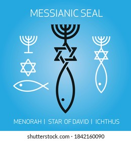 Christian religious Ichthus Fish Symbol of Messianic Judaism and David star joined together with the Israel Menorah.