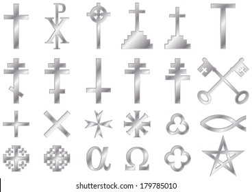44ba8f2c1d65d8 Christian religious symbols with a metallic effect  A collection of vector  icons and symbols associated