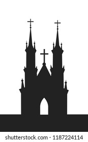 Christian sacral building - cathedral and church with spires and towers. Cross of Christianity on the top of the building. Vector illustration