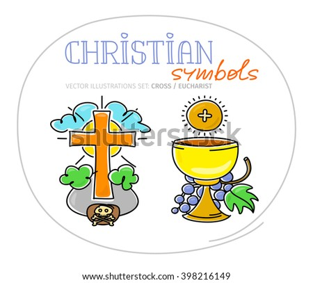 Christian Sacred Symbols Holy Cross Eucharistic Stock Vector