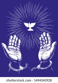 Christian symbol dove with bright rays, hands break the chain handcuffs, a symbol of freedom and forgiveness icon hand drawn vector illustration sketch