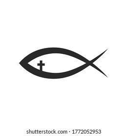 Christian symbol - fish icon isolated on white background