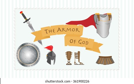 Christian Symbol Of Gods Armor Including Belt Truth Breastplate Righteousness Fitted With The Readiness