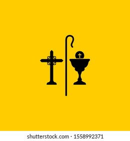 Christian symbols. The cross of Jesus, the cup of communion and the staff of the shepherd.